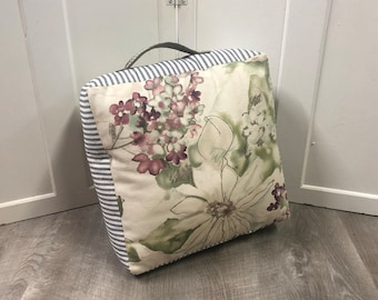 Floral and Striped Square Personal Pouf Made from Upcycled Fabric | Meditation Pillow | Yoga Cushion | Small Floor Pillow