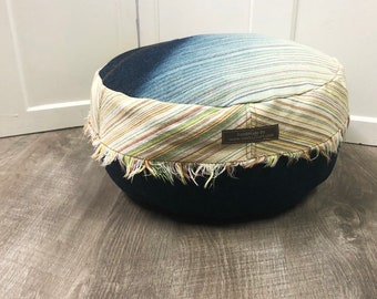 Personal Pouf Made from Upcycled Designer Denim Fabric | Meditation Pillow | Yoga Cushion | Small Floor Pillow