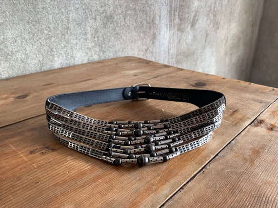 Vintage leather and steel statement belt