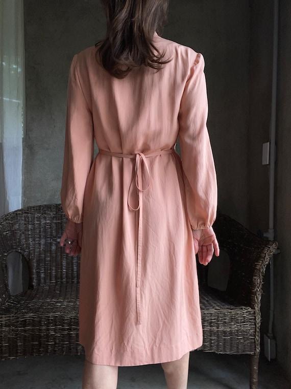 Vintage dusty peachy pink silk dress - image 10