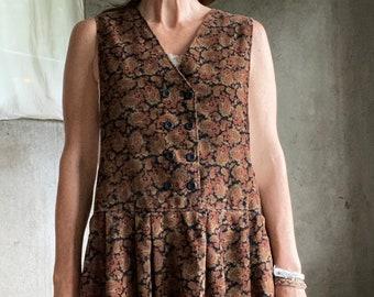 Vintage paisley corduroy pinafore jumper dress