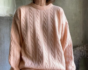 Vintage peach wool cableknit sweater