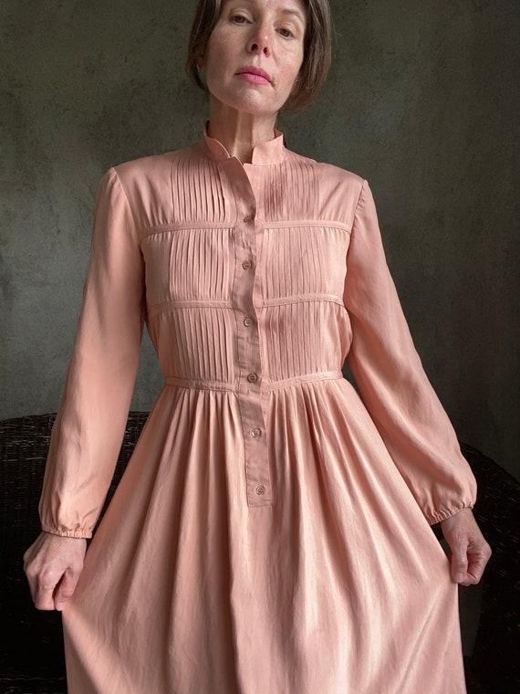 Vintage dusty peachy pink silk dress - image 6