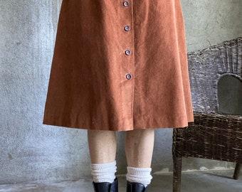 Vintage corduroy button front skirt