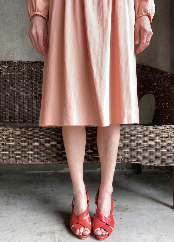 Vintage dusty peachy pink silk dress - image 3