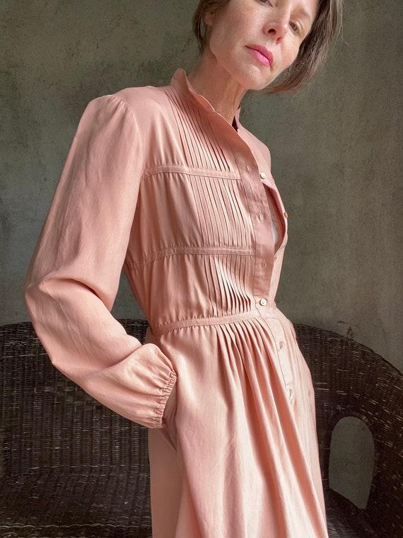 Vintage dusty peachy pink silk dress - image 4
