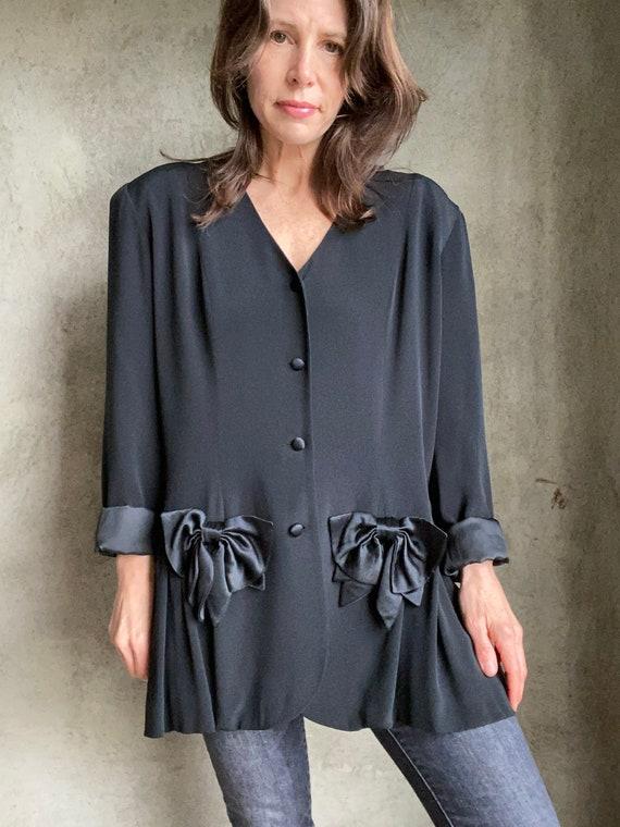 1980's black silk blazer