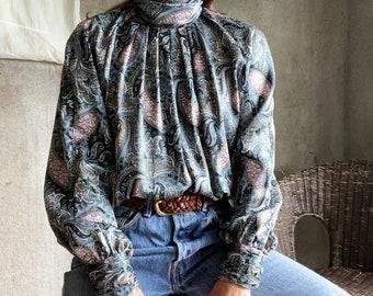 Vintage high neck paisley print blouse