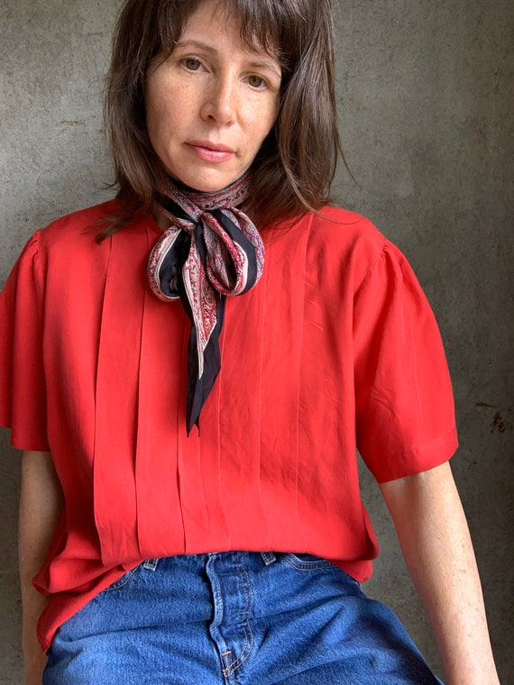 Vintage 80s red silk blouse