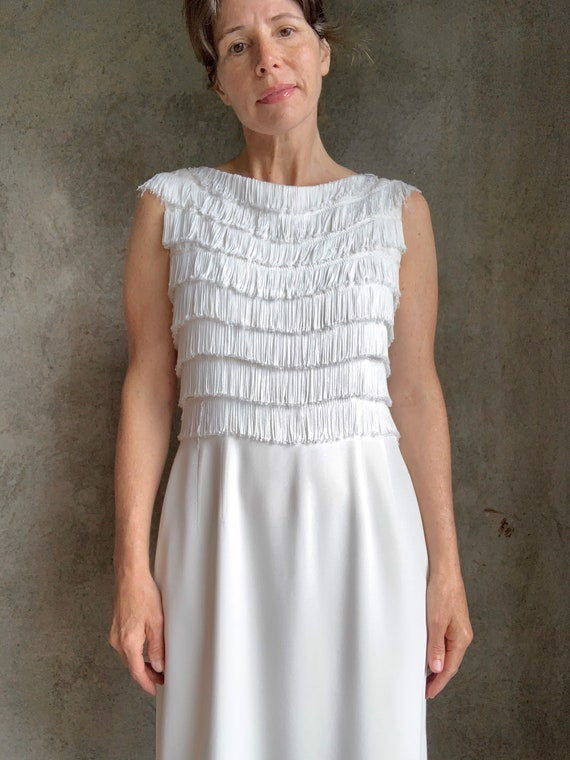Vintage fringed white sheath dress