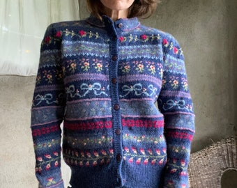 Vintage 1980's embroidered cardigan sweater