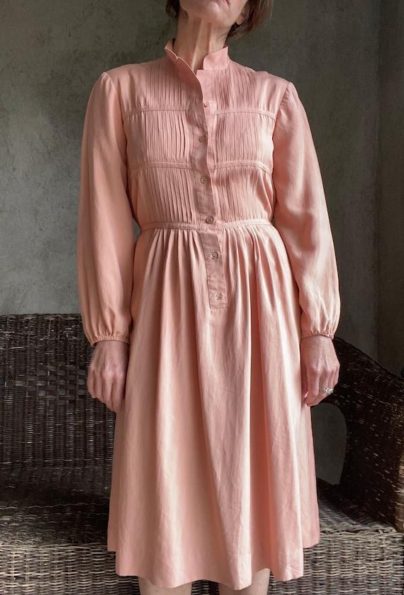 Vintage dusty peachy pink silk dress - image 5