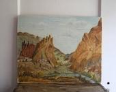 vintage landscape painting oregon desert smith rock