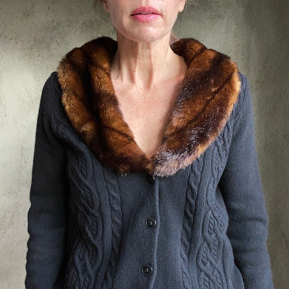 Cable wool cardigan with faux fur collar