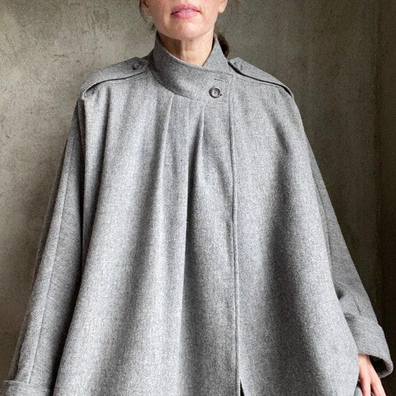 Gray wool cape cocoon coat