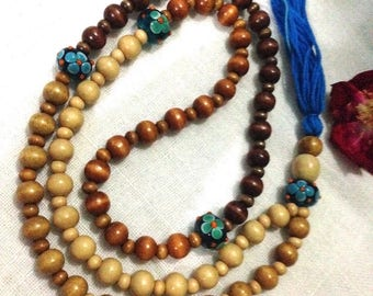 Cornflower Blue Handmade Glass 108 Bead Yoga Mala