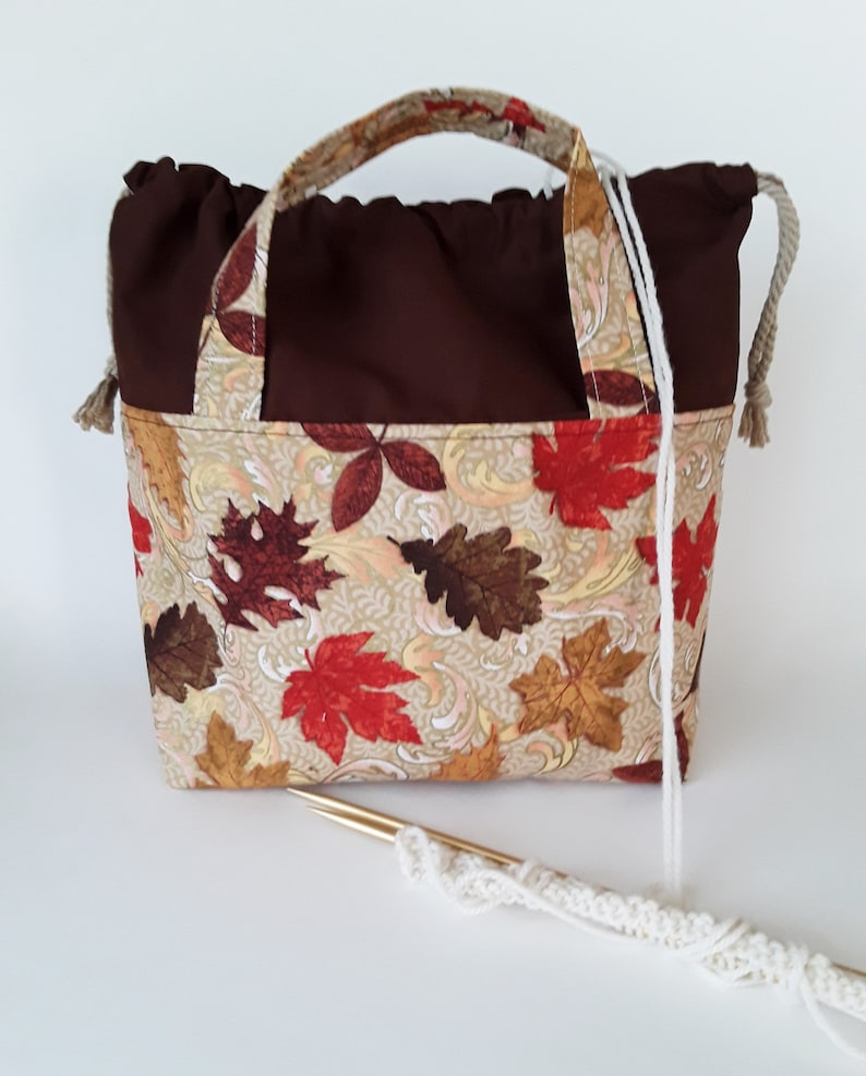 Project Bag Drawstring Fall Knitting Tote Overnight Travel Bag image 0