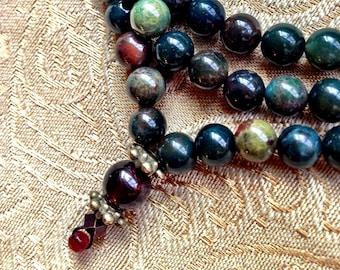 Garnet and Bloodstone Mala Necklace - Buddhist Bloodstone Rosary Necklace - Courage and Creative Manifestation