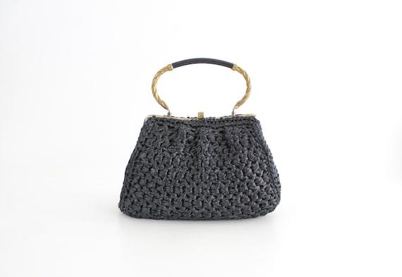 Vintage 1960s Crochet Straw Handbag   Morris Mosko