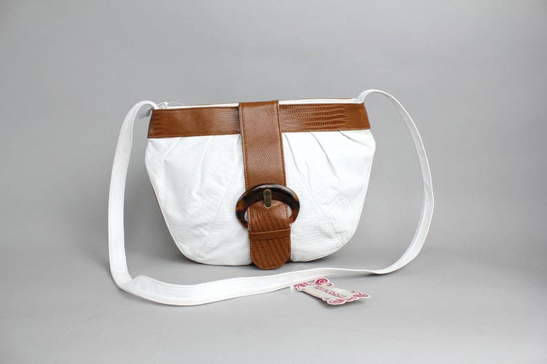 8ff75dd822 Vintage Two Tone Leather Crossbody Bag Grained Leather