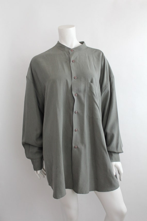 Vintage Oversized Banded Collar Silk Shirt | Rese… - image 2