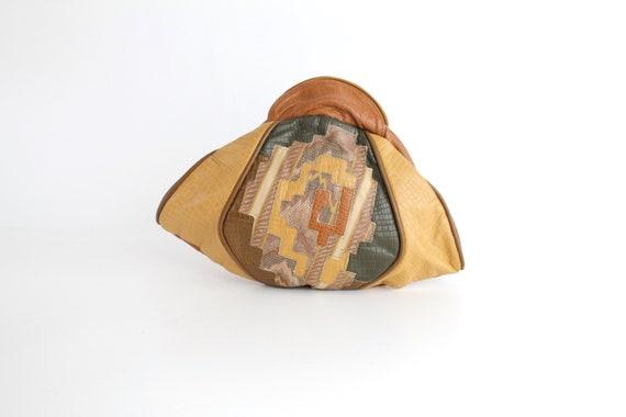 Gorgeous Leather Art Bag    Vintage 1980s Patchwor