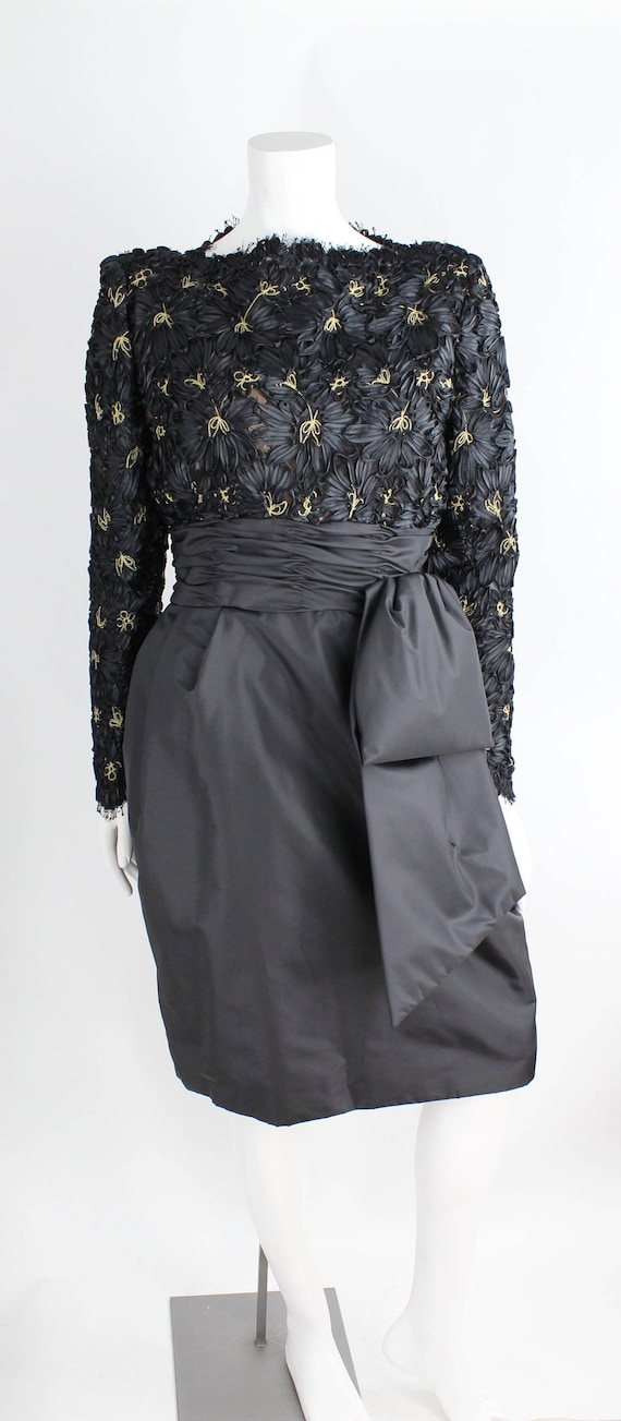 Victor Costa for Lord /& Taylor 1980s Black Party Dress Size S