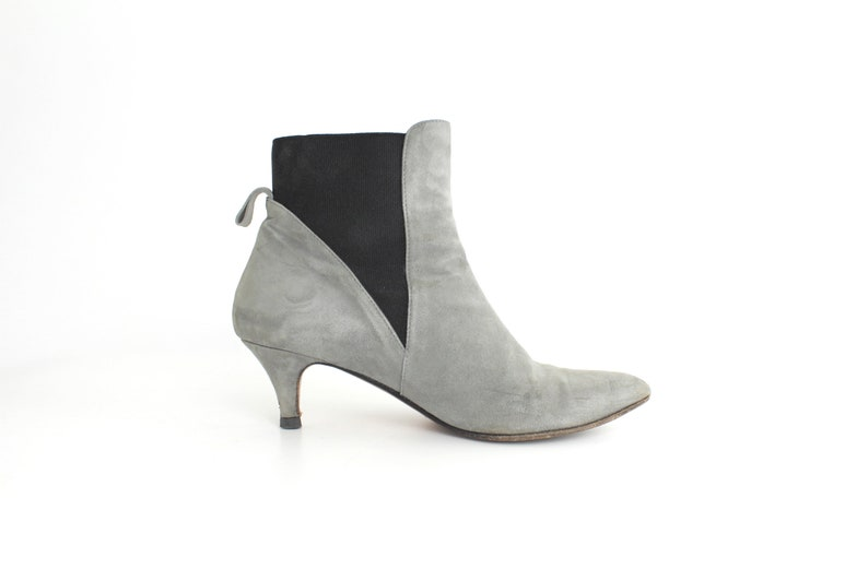 Italian Leather Gored Ankle Boots AS-IS 37.5 size 7 Minimal Nubuck Leather Booties Vintage Gray Leather Ankle Boots