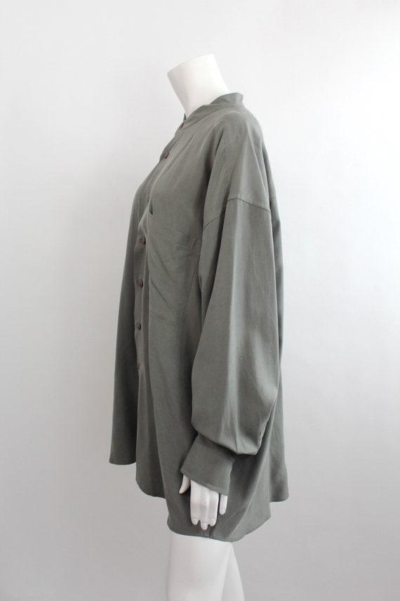 Vintage Oversized Banded Collar Silk Shirt | Rese… - image 6
