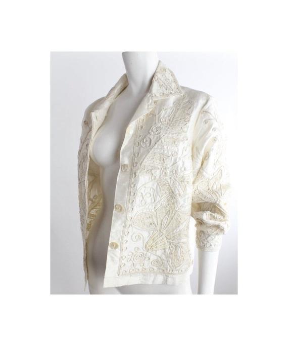 Vintage Beaded Soutache Dupioni Silk Jacket | Bone