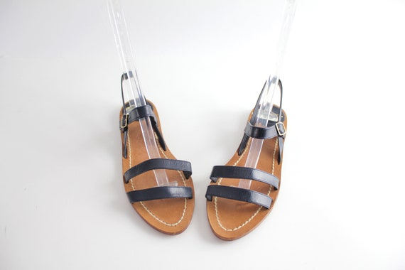 size 6.5 | Vintage Strappy Leather Sandals | 1970s