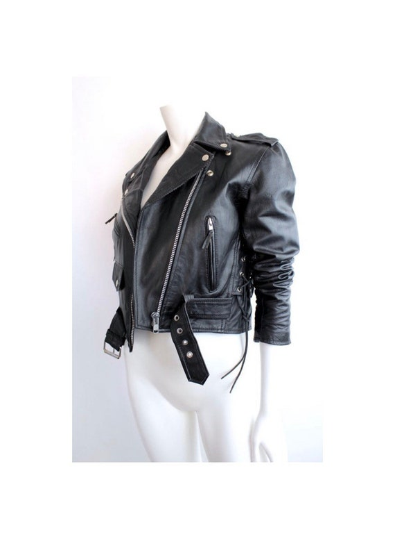 Vintage 1980s Black Leather Jacket | Cropped Leath