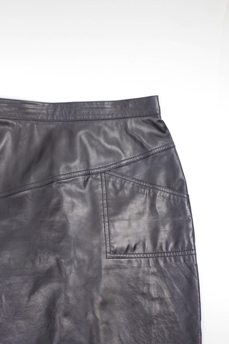 Knee Length Lambskin Skirt Vintage ESCADA Leather Pencil Skirt 38 Asymmetric Buttery Soft Lambskin Skirt