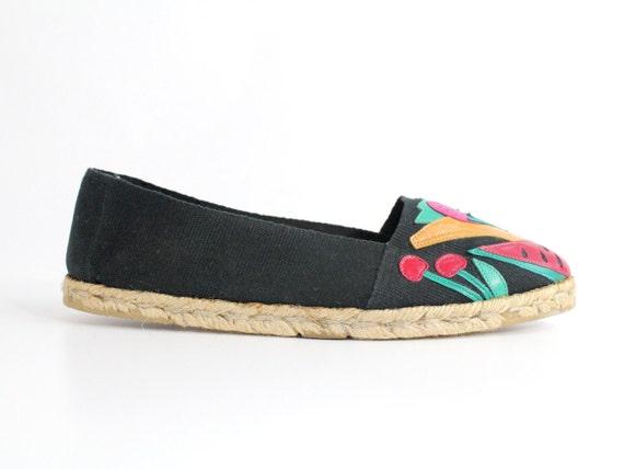 size 9   Vintage Black Espadrille Flats   Black Es