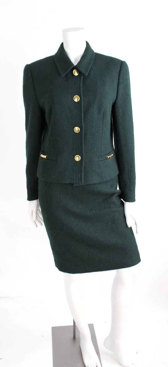 Escada Suit Set | Vintage Wool and Rabbit Fur Blen