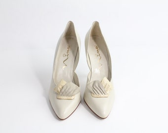 size 9 | Vintage 1980s Origami Pumps | Snakeskin Leather Heels | Bone Leather Court shoes | 40