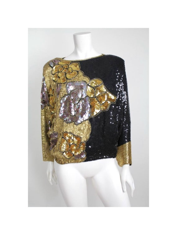 Vintage 1970s Silk Blouse | Heavily Beaded and Seq
