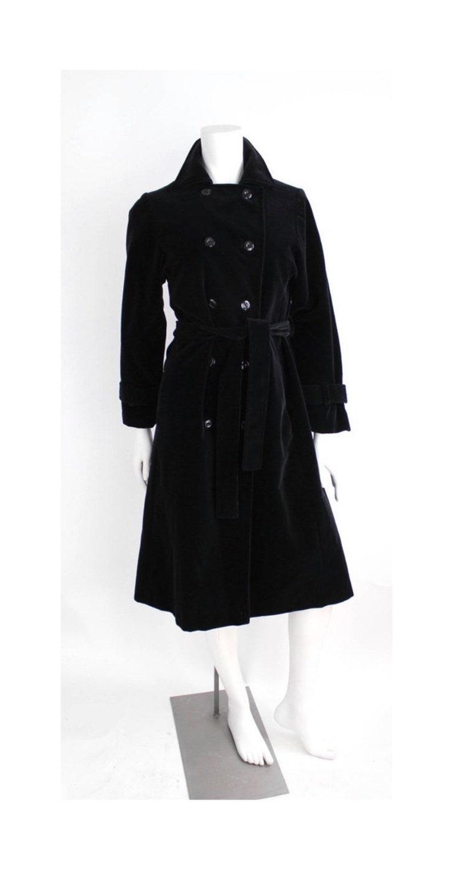 best authentic big discount of 2019 fashion style Vintage 1970s I.Magnin Coat | Black Velvet Trench Coat | Black Velvet  Belted Long Peacoat