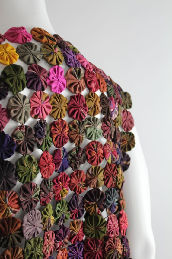 Vintage Yo-Yo Quilted Vest | Silk Rosette Quilted