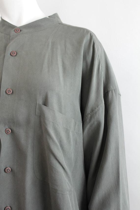 Vintage Oversized Banded Collar Silk Shirt | Rese… - image 5