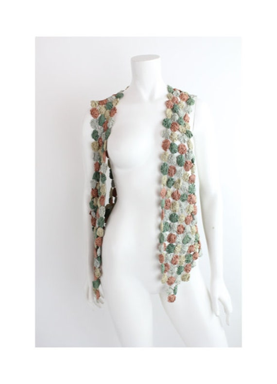 Vintage Yo-Yo Quilted Vest | Rayon Rosette Quilted