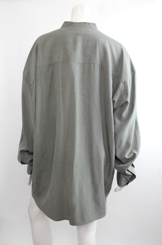 Vintage Oversized Banded Collar Silk Shirt | Rese… - image 4