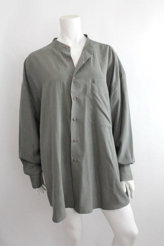 Vintage Oversized Banded Collar Silk Shirt | Rese… - image 3