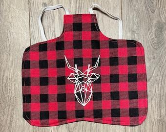 Chicken saddle apron- Buffalo plaid with buck