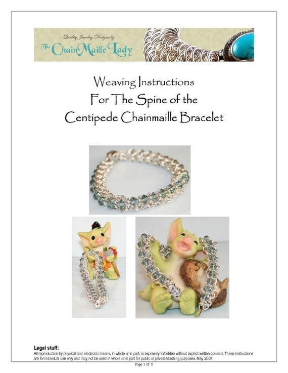 Pdf Instructions Spine Of The Centipede Chainmaille Bracelet Etsy