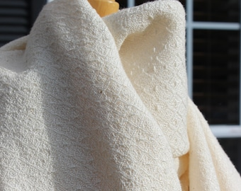 Handwoven Wide Scarf, Wrap, Natural, Cotton, Rayon, Hand woven, White, Bone, Ivory