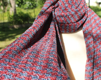 Handwoven Scarf, Cotton, Rayon, Chenille, Red, Blue, Pinwheel