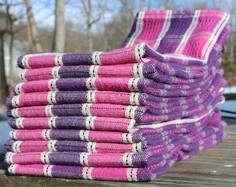 Spring Pink and Purple Handwoven Towel, Hand Woven, Towel, Pink, Purple, White, Cotton