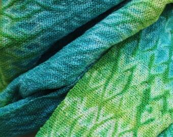 Handwoven Scarf, Shibori, Rayon, Blue, Green, Aqua