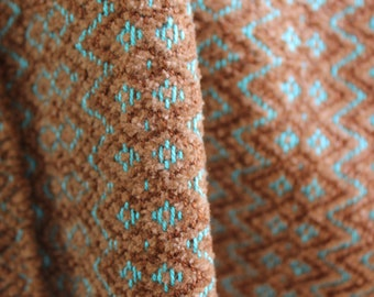 Handwoven Scarf, M and W Echo, Turquoise, Brown, Cotton, Chenille,  Orlon
